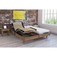 Ensemble relaxation matelas + sommiers electriques decor chene clair 2x70x190 - Mousse - 14 cm - Ferme - TALCA