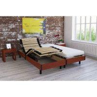 Ensemble relaxation matelas + sommiers electriques decor cerisier 2x80x200 - Mousse - 14 cm - Ferme - TALCA