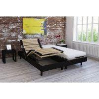 Ensemble relaxation matelas + sommiers electriques decor wenge 2x80x200 - Mousse - 14 cm - Ferme - TALCA