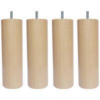 Jeu de pieds cylindriques en bois O 6,2 cm - H 17 cm - Lot de 4