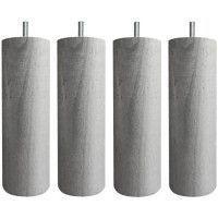 Jeu de pieds cylindriques O 6,2 H 17 cm Gris metal - Lot de 4