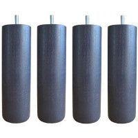 Jeu de pieds cylindriques O 6,2 H 17 cm Gris anthracite - Lot de 4