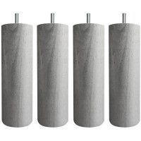 Jeu de pieds cylindriques O 6,2 cm H 19 cm Gris metal - Lot de 4