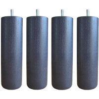 Jeu de pieds cylindriques O 6,2 cm H 19 cm Gris anthracite - Lot de 4