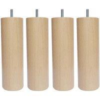 Jeu de pieds cylindriques en bois O 6,2 cm - H 24,5 cm - Lot de 4