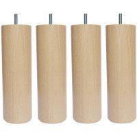 Jeu de pieds cylindriques en bois O 7 cm - H 15 cm - Lot de 4