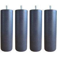 Jeu de pieds cylindriques O 7 cm H 15 cm Gris anthracite - Lot de 4