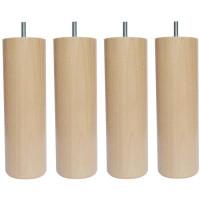 Jeu de pieds cylindriques en bois O 7 cm - H 17 cm - Lot de 4