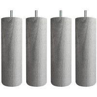 Jeu de pieds cylindriques O 7 cm H 17 cm Gris metal - Lot de 4