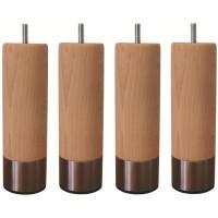Jeu de pieds cylindriques en bois et inox brosse O 5 cm - H 14,5 cm - Lot de 4