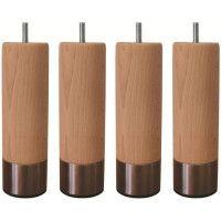 Jeu de pieds cylindriques en bois et inox brosse O 6 cm - H 14,5 cm - Lot de 4