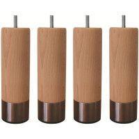 Jeu de pieds cylindriques en bois et inox brosse O 6 cm - H 19 cm - Lot de 4