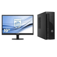 Pack HP PC de bureau - 4 Go de RAM - Windows 10 - AMD E2-7110 - AMD Radeon R2 Graphics - Disque dur 1 To + PHILIPS Ecran 19