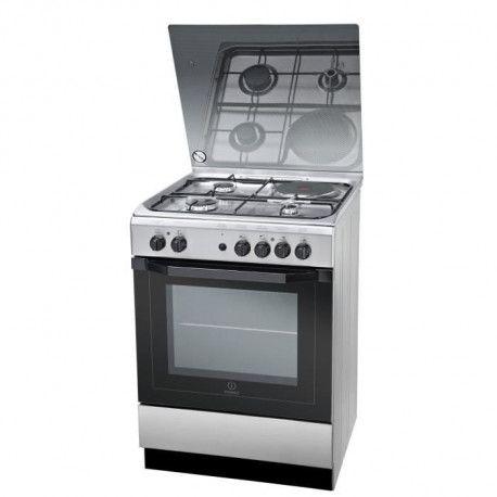 INDESIT I6M6HAGXFR - Cuisiniere table mixte gaz / electrique-4 zones-4800W-Four electrique multifonction-Hydrolyse-59L-Inox