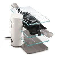 LAGRANGE 009204 - Raclette 2 personnes - 3 plateaux fixes en verre trempe - 2 poelons revetement antiadhesif - Pied acier laque