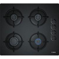 BOSCH POP6B6B10 Table de cuisson gaz - 4 foyers - 7400W - L56 x P48cm - Revetement verre trempe - Noir