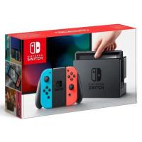 Console Nintendo Switch avec un Joy-Con droit rouge neon et un Joy-Con gauche bleu neon