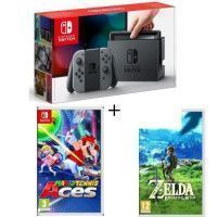 Pack Nintendo Switch Grise + The Legend of Zelda : Breath of the Wild + Mario Tennis Aces