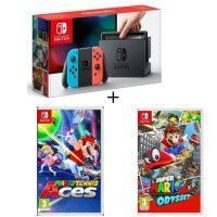 Pack Nintendo Switch Neon + Super Mario Odyssey + Mario Tennis Aces