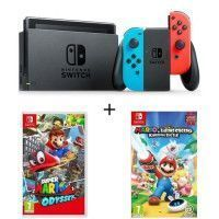 Pack Nintendo Switch Neon + 2 jeux Switch : Mario + The Lapins Cretins Kingdom et Super mario Odyssey