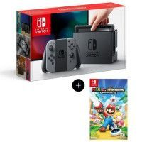 Console Nintendo Switch avec paire de joy-con gris + Mario The Lapins Cretins Kingdom Battle Jeu Switch