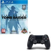 Pack Rise Of The Tomb Raider 20 Year Celebration Jeu PS4 + Manette PS4 DualShock 4 Noire V2