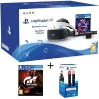 PlayStation VR + PlayStation Camera + 2 Jeux PS4 : VR Worlds + Gran Turismo Sport + Paire de PlayStation Move