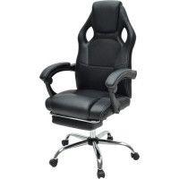 DESPINA Chaise gamer - Simili et tissu noir - Classique - L 64 x P 70 cm
