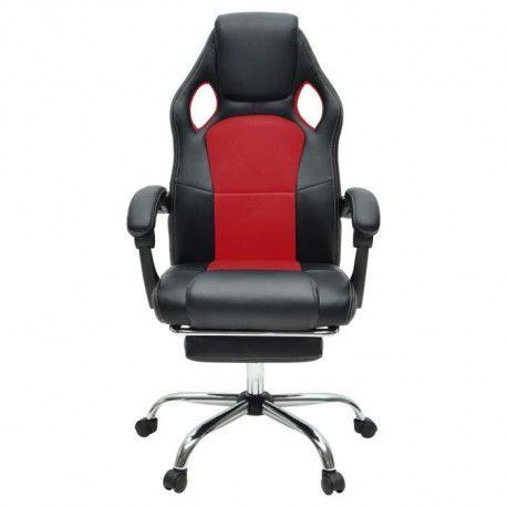 DESPINA Chaise gamer - Simili noir et tissu rouge - Classique - L 64 x P 70 cm