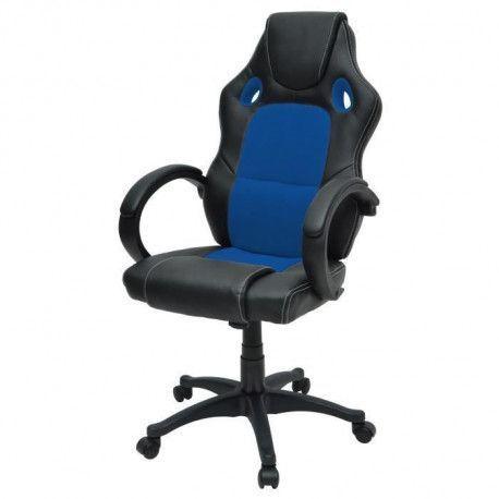 DRIFT Chaise gamer design baquet - Simili noir et tissu bleu - Style contemporain - L 50 x P 42.5 cm