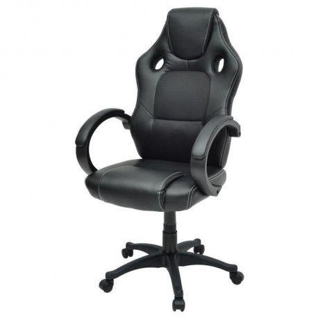 DRIFT Chaise gamer design baquet - Simili et tissu noir - Style contemporain - L 50 x P 42.5 cm