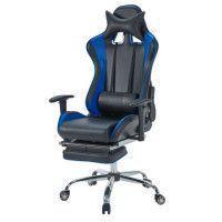 Chaise Gamer Facon Siege Baquet Rallye noir et bleu