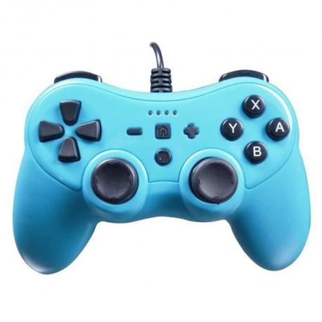 Manette Colorz pour console Nintendo Switch avec cable de 3 metres, vibration et gyroscope - Bleu Neon