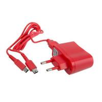Chargeur secteur rouge + Cable USB Under Control pour 2DS - 3DS