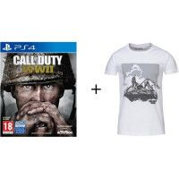Pack Call Of Duty : Jeu PS4 Call of duty World War II  + T-shirt Konix Call of Duty WWII - Taille L - Blanc