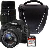 CANON EOS 100D + 18-55 IS STM + SIGMA 70-300mm + Sacoche + Carte 16Go