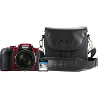 Bundle Nikon B700 Rouge + Sac photo + Carte memoire 8 Go
