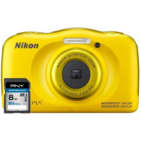 Nikon Coolpix W100 Jaune 13,2Mp + Carte memoire SDHC 8Go