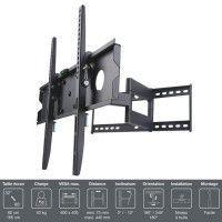 INOTEK PRO M1 3265 Support TV mural - Pour TV 32 a 65 81 a 165 cm - Inclinable et Orientable - Noir