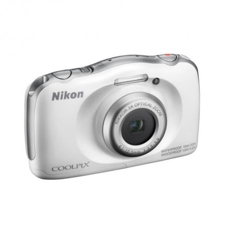 NIKON COOLPIX W100 - Appareil photo numerique compact - Resolution de 13,2Mp - Video Full HD - Etanche jusqua 10m - Blanc
