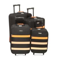 CHALLENGER Set de 4 Valises Souple 2 Roues 47-54-61-69 cm Noir et orange