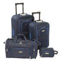 CHALLENGER Set de 2 Valises Souple 2 Roues 54-64 cm + Sac Cabine 50 cm + Vanity 24 cm Bleu