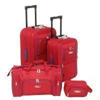 CHALLENGER Set de 2 Valises Souple 2 Roues 54-64 cm + Sac Cabine 50 cm + Vanity 24 cm Rouge