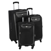 FRANCE BAG Set de 3 Valises Souple 4 Roues 56-66-76cm Noir