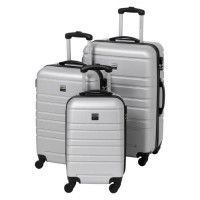 FRANCE BAG Set de 3 Valises Rigide ABS 4 Roues 55-65-70cm Argent