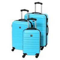FRANCE BAG Set de 3 Valises Rigide ABS 4 Roues 55-65-70cm Bleu Ciel