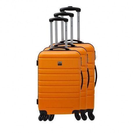 FRANCE BAG Set de 3 Valises Rigide ABS 4 Roues 55-65-70cm Orange