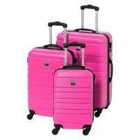FRANCE BAG Set de 3 Valises Rigide ABS 4 Roues 55-65-70cm Rose