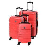 FRANCE BAG Set de 3 Valises Rigide ABS 4 Roues 55-65-70cm Rouge