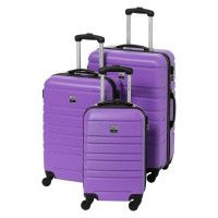 FRANCE BAG Set de 3 Valises Rigide ABS 4 Roues 55-65-70cm Violet